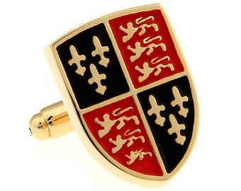 Coat of Arms Lapel Pin Gold Tone Royal Coat of Arms of England Shield Enamel Pin English Britain Enamel Tie Tack Comes Gift Box British