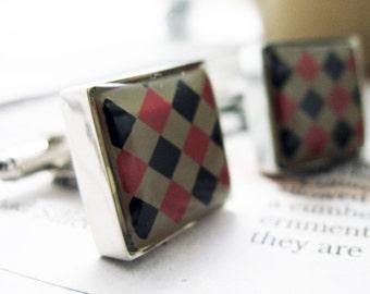 Argyle Design Red and Black Enamel Square Checker Board Cuff Links