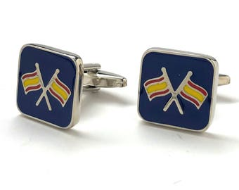 Flag Cufflinks Ship Boat Flags Cufflinks Sailing Colors Silver Tone with Enamel Colors Cuff Links Comes with Gift Box