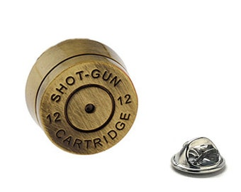 Brass Shell Shotgun Enamel Pin, 3D Detailed Lapel Pin