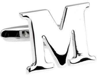 Initial M Cufflinks Letter M Cufflinks Silver Cut Out  Cufflinks Monogram M Cuff Links Fathers Day Gift Gifts for Dad Husband Wedding Cuffs