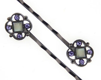Black Costume Mother Of Pearl Bobby Pins With Tanzanite Color Swarovski Crystals, Hair Pin