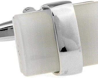 Louisiana Slip Stone Cufflinks Mother of Pearl with Silver Band Cuff Links Comes with Gift Box