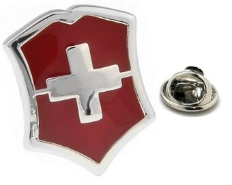 Enamel Pin Swiss Shield Lapel Pin Tie Tack Collector Pin Silver Red Enamel on Silver