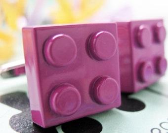 Purple Block Master Cufflinks Magenta Purple Building Brick Block Enamel Fun Game Piece Block Cool Cuff LInks Comes with Gift Box