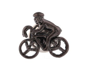 Lapel Pin Gunmetal Cyclist Bike Lets Go For a Bike Ride Cyclist Enamel Pin Tie Tack