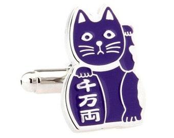 Purple Japanese Cat Cufflinks Lucky Cat Bring Prosperity to Owner Cufflinks Cuffs