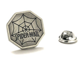 Enamel Pin Spiderman Pewter Lapel Pin Super Hero Spider Man Tie Tack Husband Gifts for Dad Gifts for Him spider web