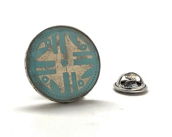 Enamel Pin Native American Coin, Tie Tack Indian Indigenous Blue