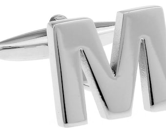 M Initial Cufflinks Silver 3-D Letter Block M English Letters Cuff Links Groom Father of the Bride Wedding Father's Day Gift Box