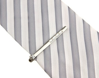 Gleaming Silver Four Cut White Crystal Inset Tie Clip Button Chain Tie Bar Silver Tone Very Cool Comes with Gift Box