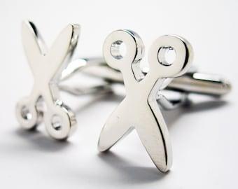 Scissors Cufflinks Silver Tone No Running Fun Office Tools Cuff Links