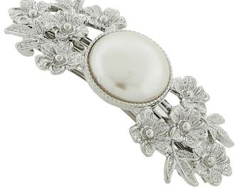 Wedding Barrette Silver Tone Pearl And Flowers Elegant Twists Hair Barrett Hair Jewelry