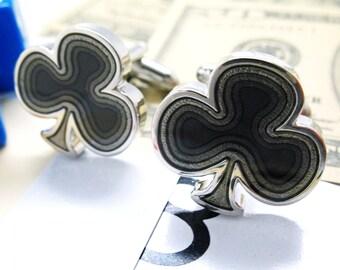 Ace of Clubs Cufflinks Silver Toned Black Enamel Clover Lucky Charm Fun Cuff Links