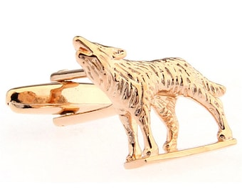 Rose Gold Tone Howling at the Moon Wolf Cufflinks Cuff Links