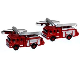 Fire Truck Cufflinks 3D Fun Red Enamel Firemen Cufflinks Cuff Links