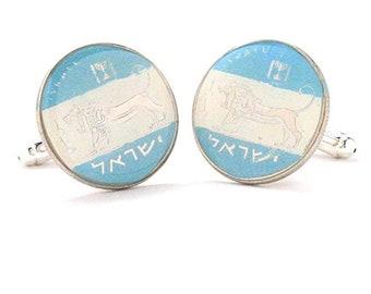 Enamel Cufflinks Israel Enamel Coin Jewelry Cuff Links Israelite Israeli Jerusalem Tel Aviv Eilat Jew Jewish Hanukkah Hebrew Biblical Bible