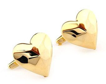 Gold Heart Cufflinks Thick Lovers Heart Cufflinks Love of Your Life Cuff Links Groom Father Bride Wedding Marriage Anniversary Father's Day