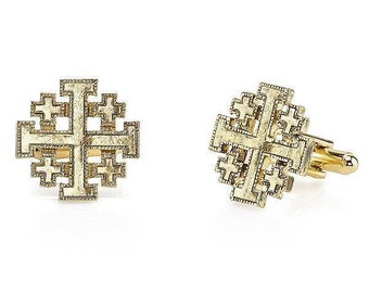 14K Gold Dipped Jerusalem Cross Cufflinks  Religious Collection Faith Cross Cuff Links