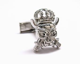 Skull Cufflinks King of the UnDead Crystal Crown Cufflinks Silver Tone Cuff Links