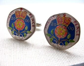 Enamel Cufflinks Hand Painted British Twenty Pense Enamel Coin Jewelry England Royal Cuff Links Birmingham London Leeds Manchester Cool Rare
