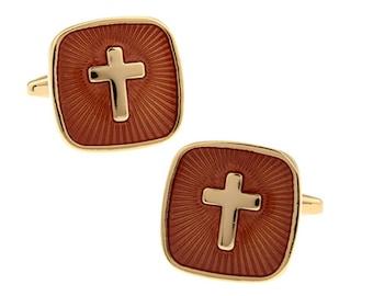 Cross Cufflinks Copper Gold Enamel Religious Cross Christian Cuff Links