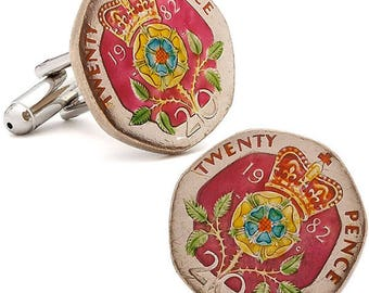 Enamel Cufflinks British Enamel Coin Jewelry Royal Crown Red Hand Painted England Jewelry World Cuff Links Twenty Pence