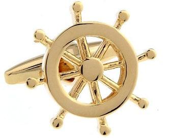 Gold Ocean Voyage Ship's Wheel Helm Steering Wheel Cufflinks Vintage Cuff Links