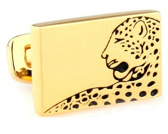 Gold Cheetah Straight Post Whale Backing Cufflinks Rectangle Cheetah Leopard Puma Jungle Cufflinks