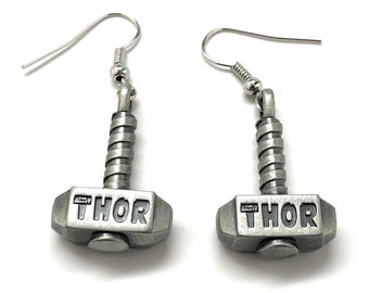 Earrings The Mighty Thor Hammer Earrings superhero Collection Jewelry