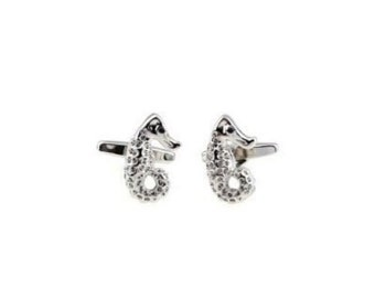 Sea Horse Cufflinks Silver Tone Bright Crystals Seahorse Cuff Links