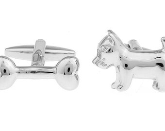 Silver Dog with a Bone Man's Best Friend Puppy Cufflinks Cuff Links