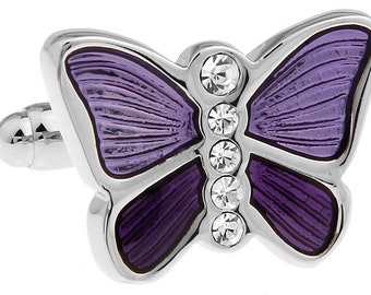 Purple Butterfly Cufflinks Silver Lavender with Crystals Accents Cuff Links