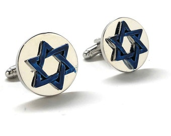 Star of David Cufflinks Blue Enamel Jewish Religious Symbols Hanukkah Faith Bar Mitzvah Shield of David Magen David Silver Cuffs
