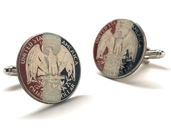 Eagle Scout Gift Hand Painted US Quarter Authentic US Currency Enamel Coin Jewelry Court of Honor Cufflinks Lapel Pin Tie Bar