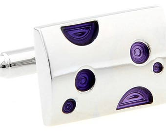 Silver Bar Purple Crazy Dots Cufflinks Fun Unique Cuff Links
