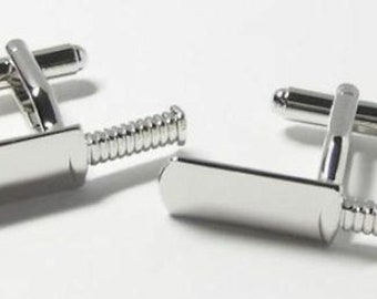 Cricket Batsman Bat Cufflinks Silver Tone Deluxe Finish Sport Fun Cool Cuff Links Comes with Gift Box