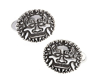 Silver Tone Sun King Cufflinks The King of France Power Royal Crown Empire Cool 3D Black Enamel Cuff Links Comes with Gift Box