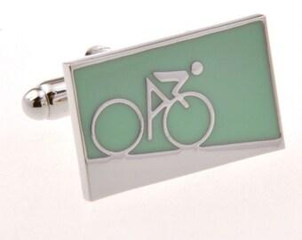 Enamel Blue Green Bike Bikers Cufflinks Cyclist Racer Mountain Bicycle Cuff Links