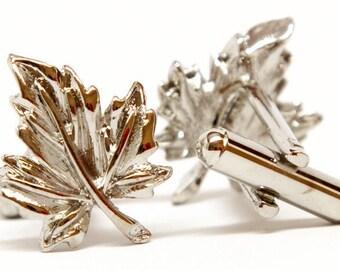 Silver Cufflinks Maple Leaf Cufflinks Oh Canada Cufflinks Silver Tone Maple Leaf Cuff Links