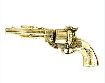 Vintage Gun Tie Bar The Old West Gold Tone Tie Clip