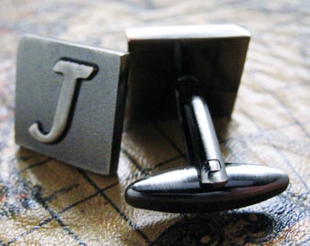 J Initial Cuff Links Mens Cufflinks Gunmetal Square 3-D Letter Vintage English Letters Personalized Wedding Bride Father's Day Gift Box