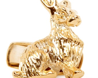 Lucky Rabbit Cufflinks Easter Bunny Thick Gold Tone Cuff Links
