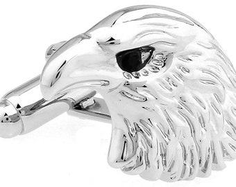 Eagle Head Cufflinks Silver American Bald Eagle Black Crystal Eyes