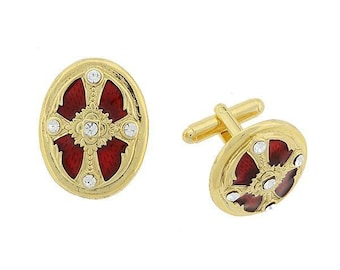 14K Gold Dipped With Red Enamel Cross Cufflinks Religious Collection Oval Faith Cuff Links