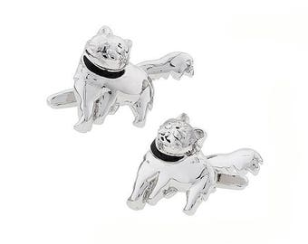 Dexter the Cat Cufflinks Lucky Cats Bring Stability to Owner and Very Good Fortune Cuffs Links Comes with Gift Box Silver Tone Black Enamel
