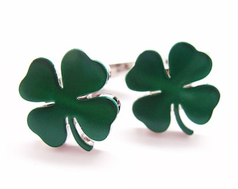 Lucky Cufflinks Green St. Patricks Four Leaf Clover Cuff Links Ireland Irish Brings Awesome Luck to Wearer Comes with Gift Box