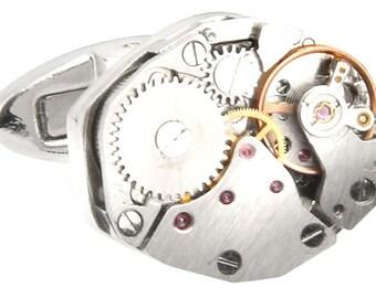 Watch Movements Cufflinks Steampunk Silver Deconstructed Watch Movements Cufflinks Whale Tale Post Cufflinks Cuff Links