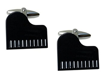 Cufflinks Music Collection Black Enamel Play Me a Song Baby Grand Piano Cuff Links Comes with Gift Box