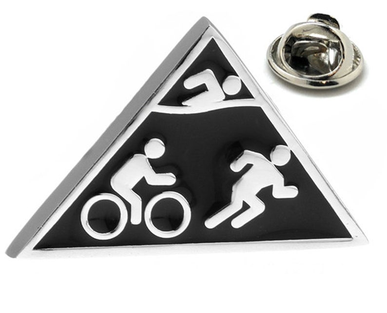 Enamel Pin Triathlon Lapel Pin Tie Tack Collector Pin Silver Tone Swimming  Cycling Running Tie Tack Endurance Races Black Enamel on Silver